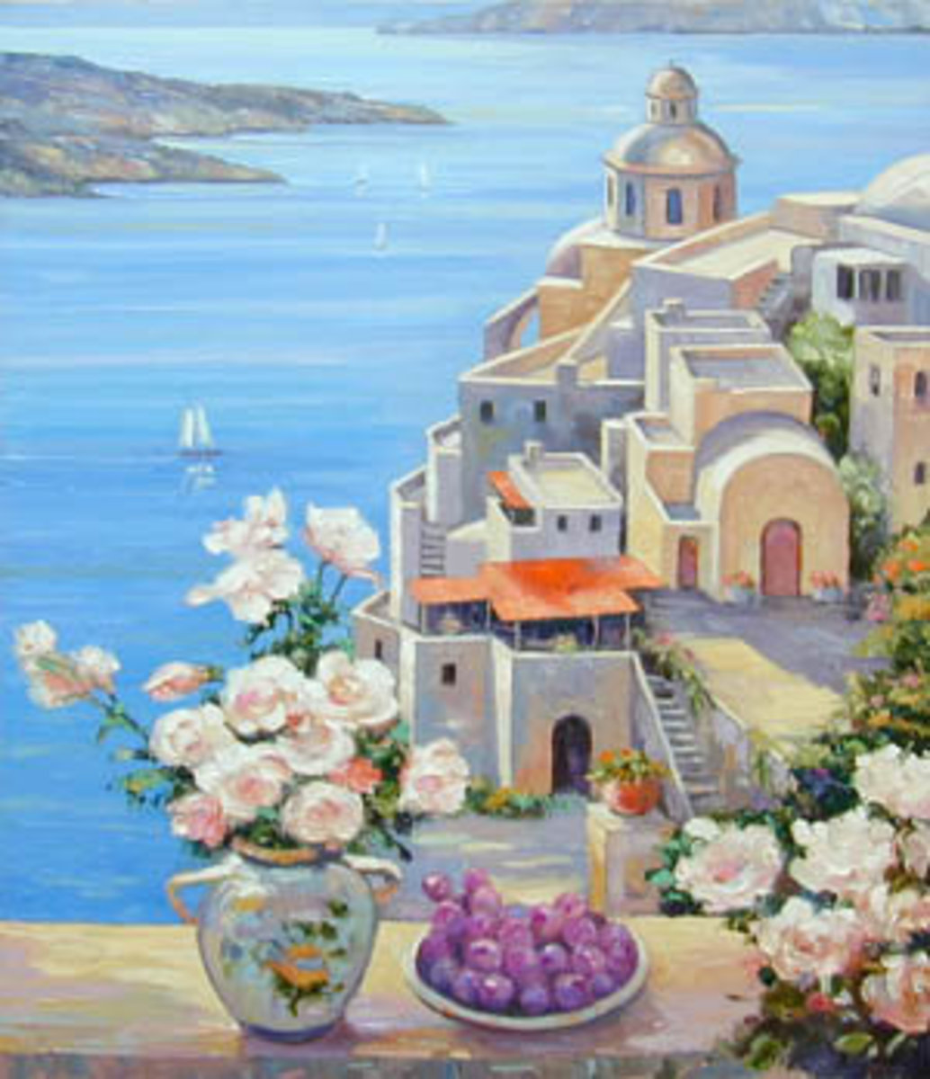Mediterranean Roses Mural Wallpaper Sample