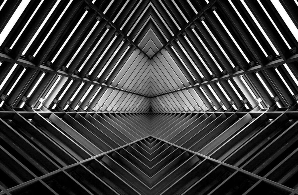 Metal structure similar to spaceship interior in black and white Sample