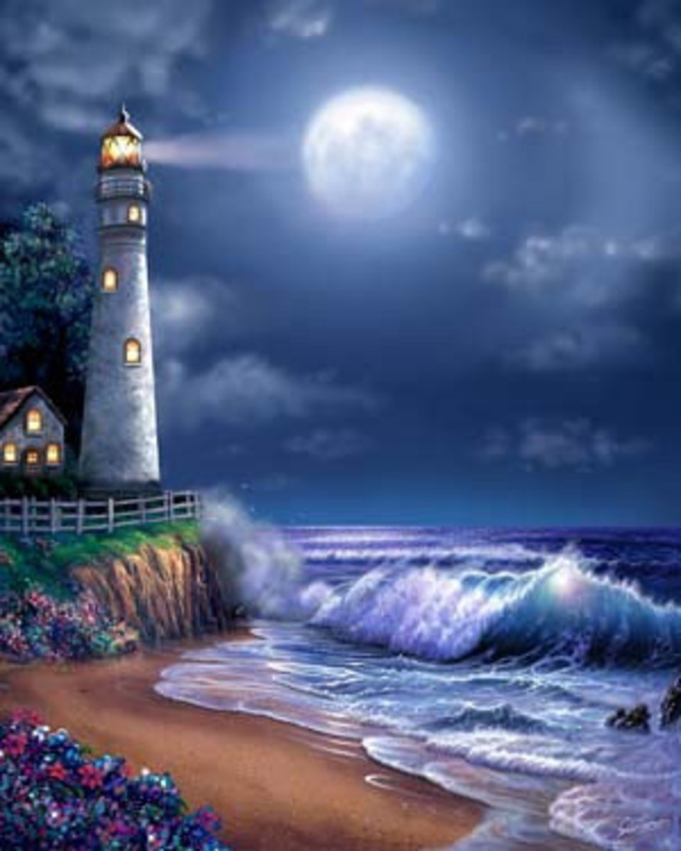 Midnight Lighthouse Wallpaper Mural Additional Thumbnail
