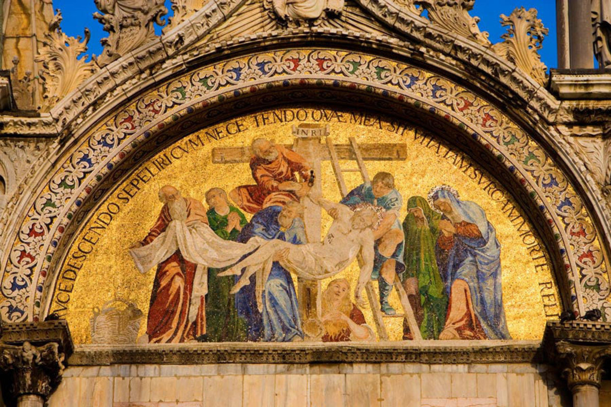 Mosaic Detail of Facade on St. Mark's Cathedral, Venice, Italy  Mural Wallpaper
