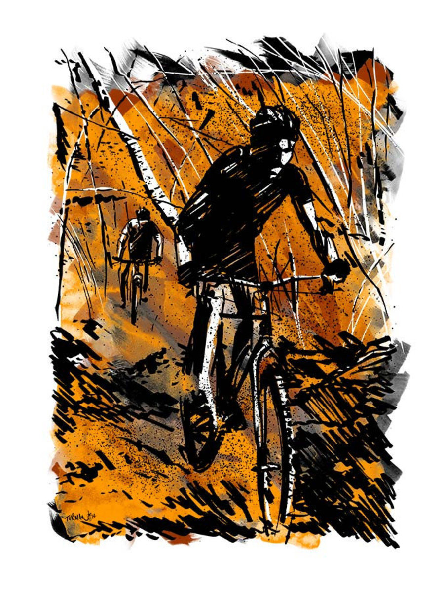 Two bikers race across rough terrain, weaving in and out of trees and down a mountainside Additional Thumbnail