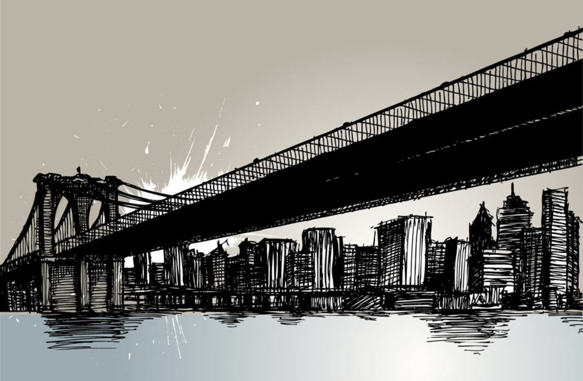 New York City Bridge Drawing Mural