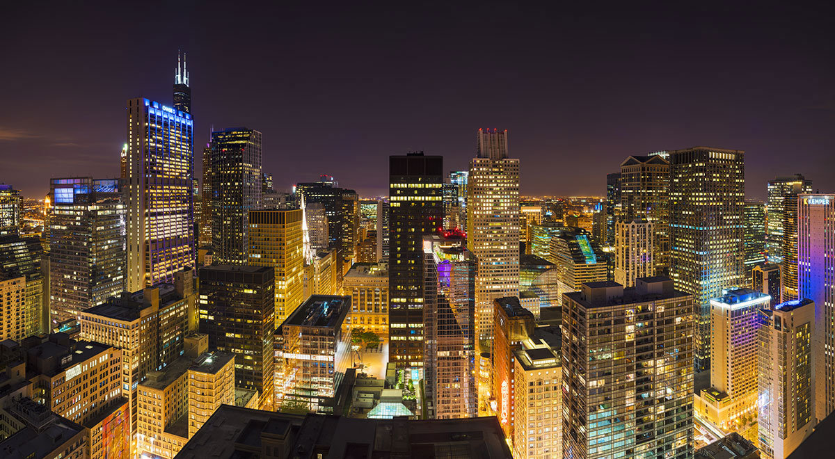 Nighttime View Of Chicago Skyline