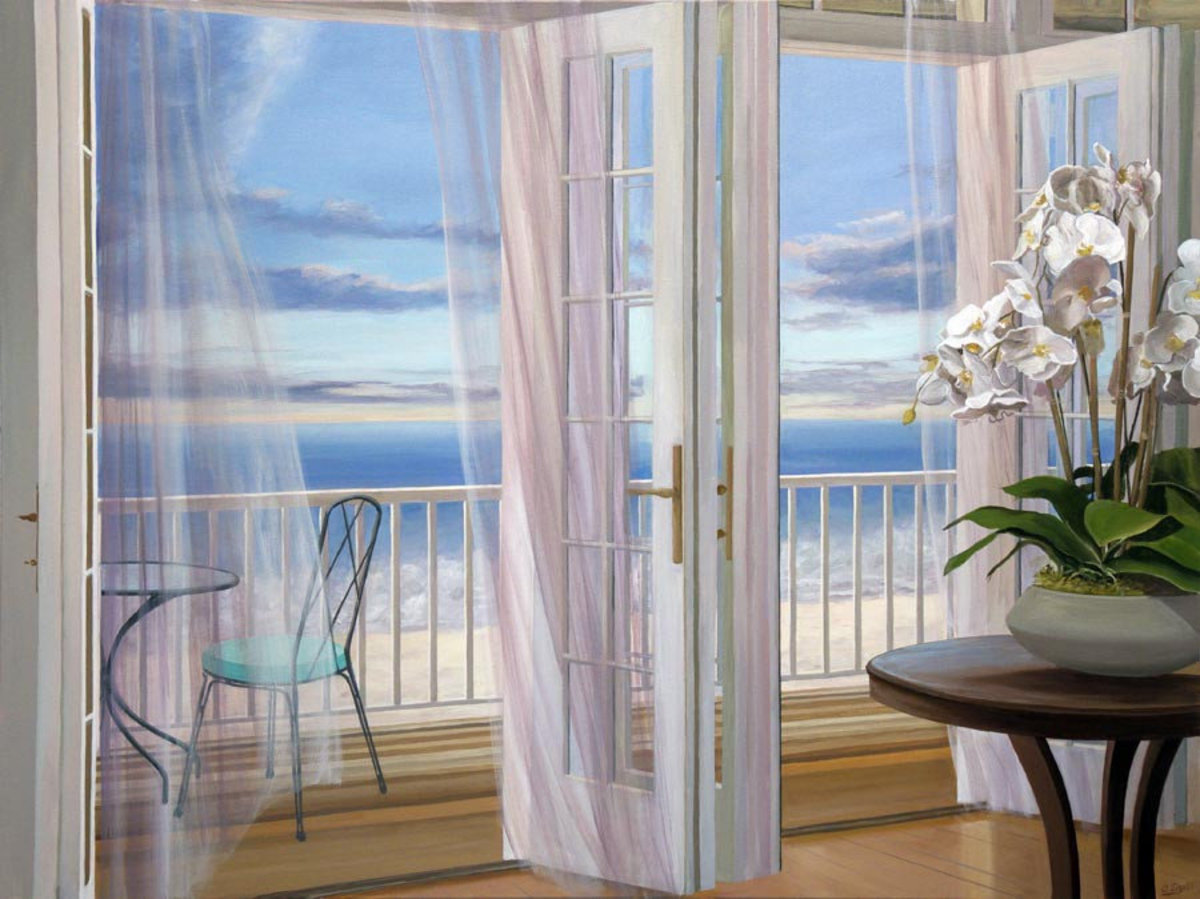Ocean View with Orchid Mural Wallpaper Sample