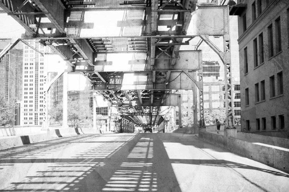 Old Black And White Chicago Bridge  Wallpaper Mural Additional Thumbnail