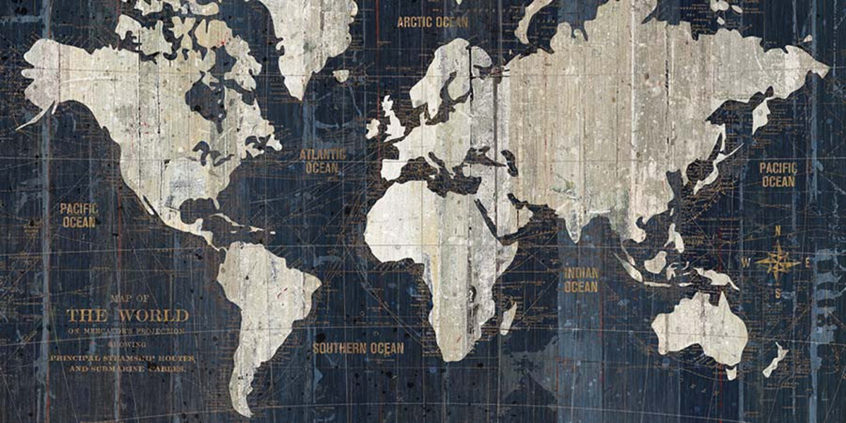 Old World Map Blue Wall Mural Sample