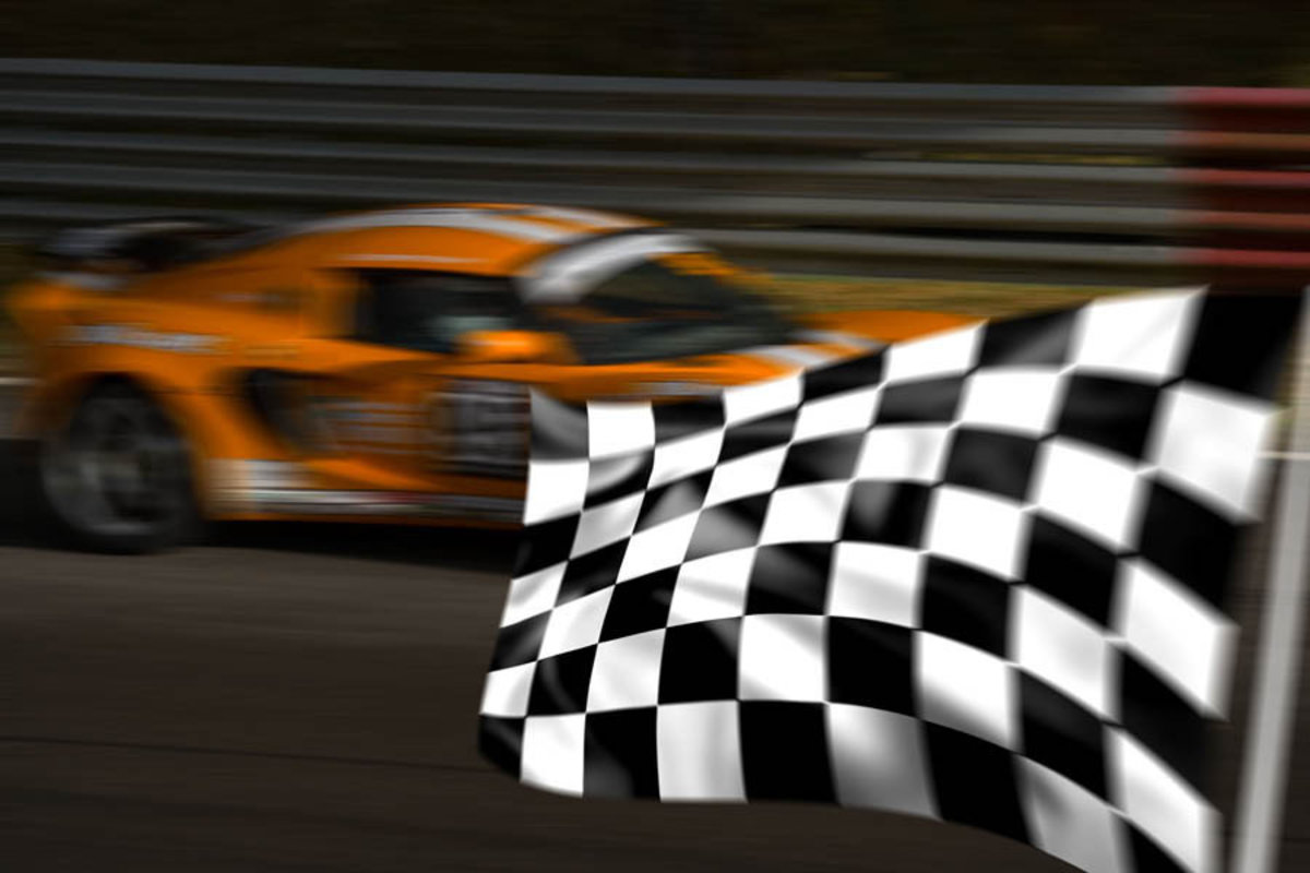 Orange Racecar Mural Wallpaper