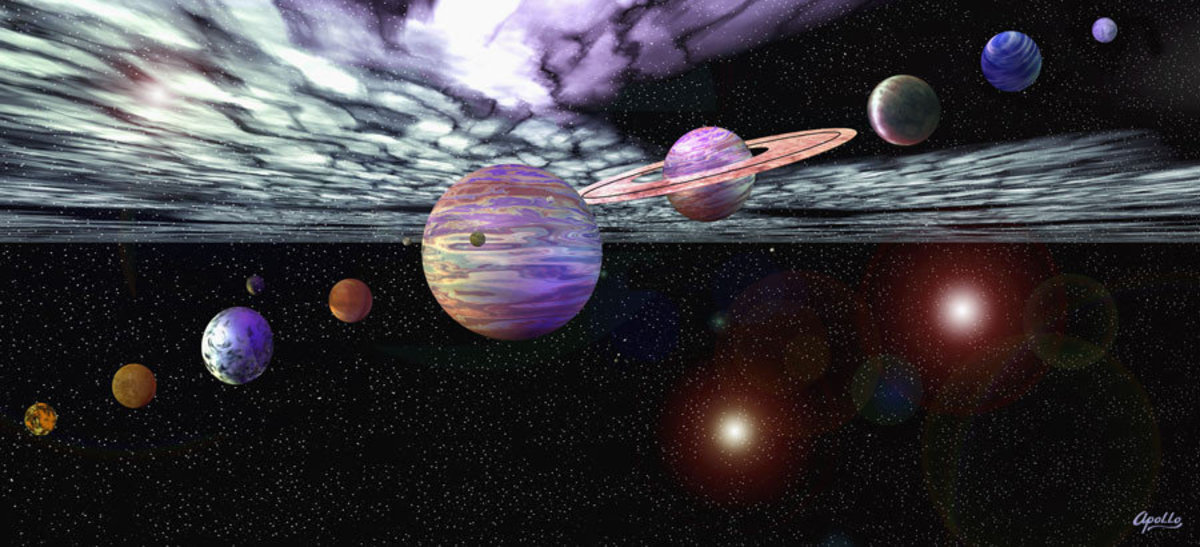 Solar system wallpaper mural with planets and moons in space surrounded by stars and solar dust Sample