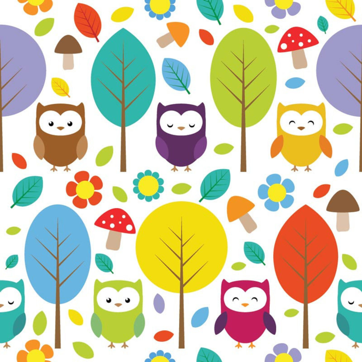 Colorful Owl Pattern Wallpaper Sample
