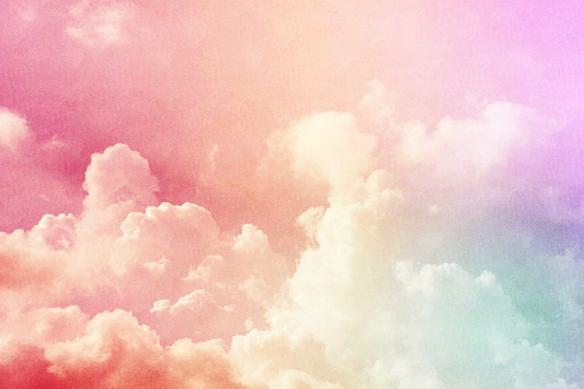 Pastel Rainbow Clouds Wallpaper Mural Sample