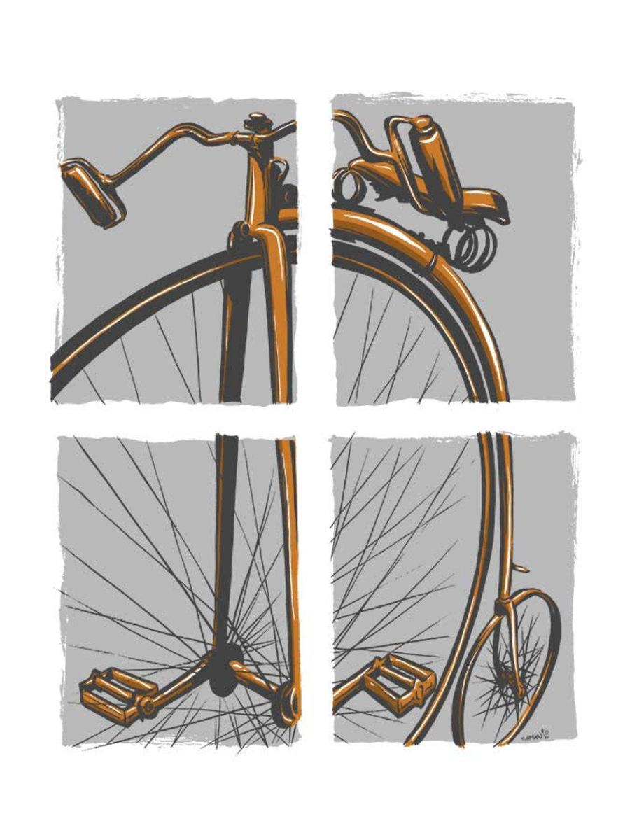 illustration divided into four grey squares, each containing a piece of a penny-farthing high wheeler Sample