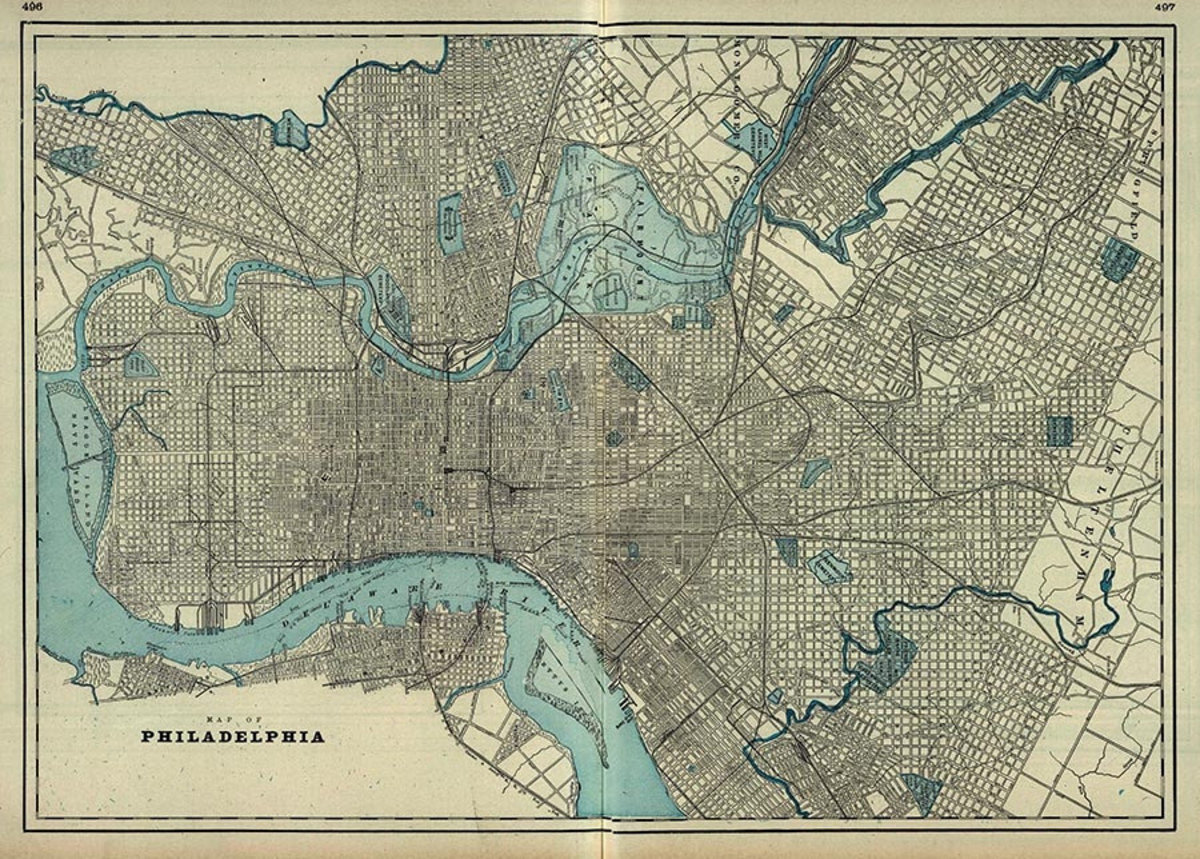 Philadelphia PA 1901 Map Wall Mural Sample