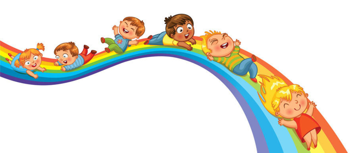 kids ride down the rainbow slide Additional Thumbnail