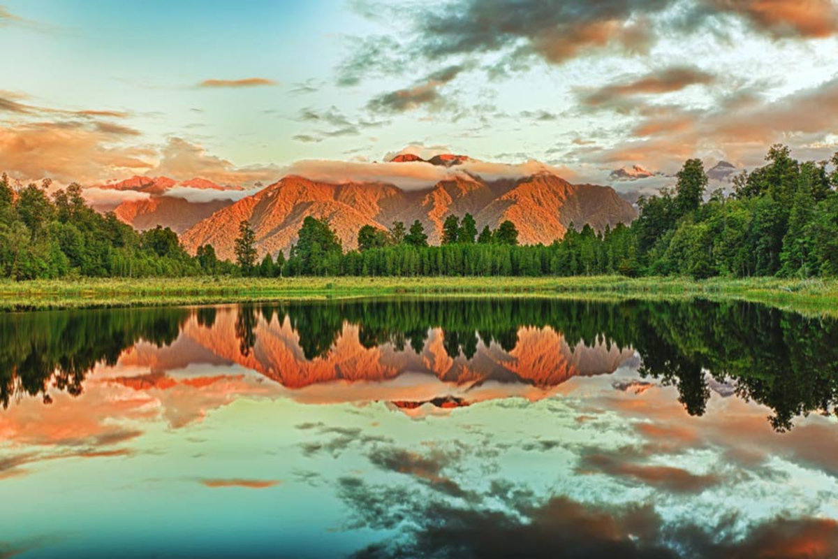 reflection of the mountains in Matheson Lake
