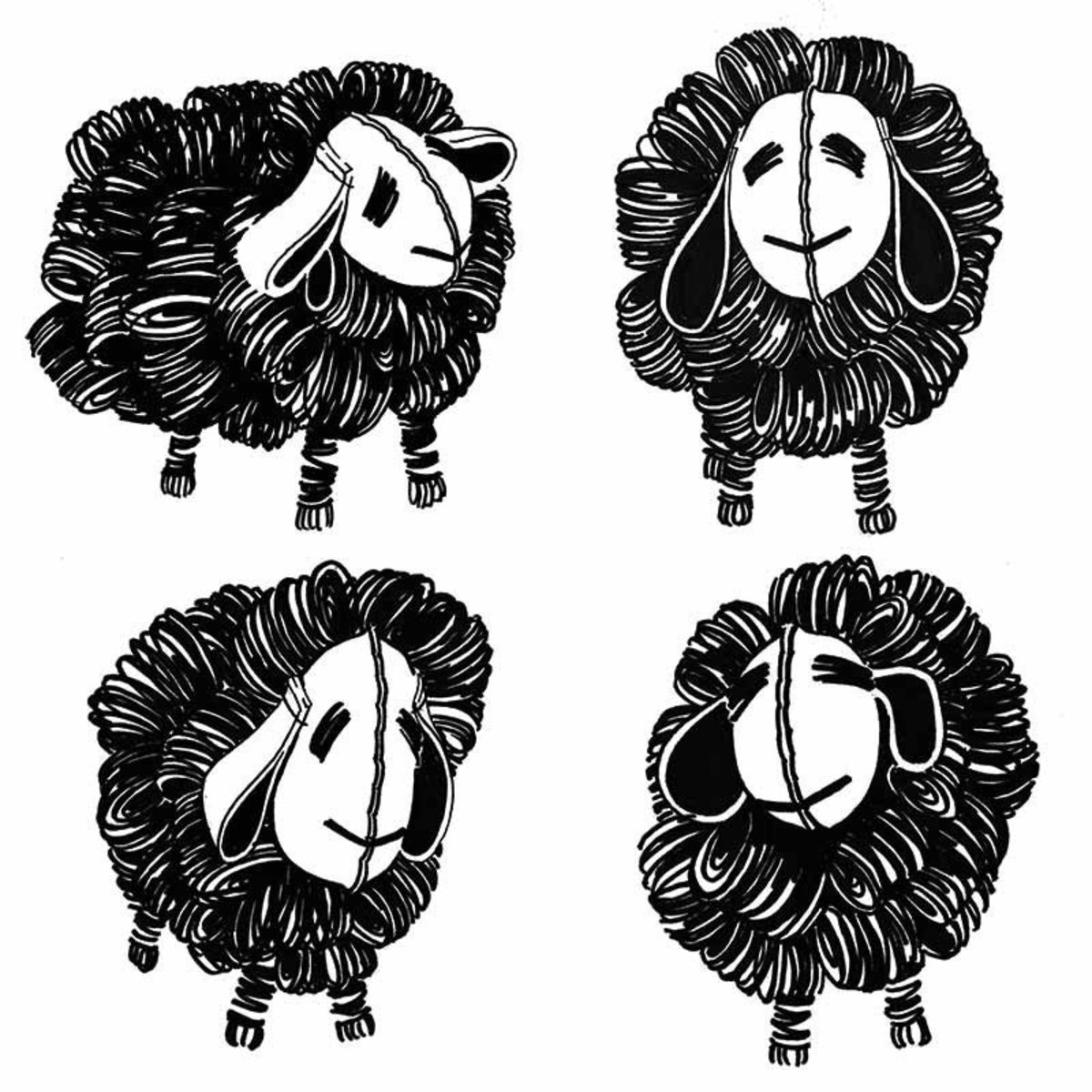 Retro Black And White Sheep Pattern Wall Mural