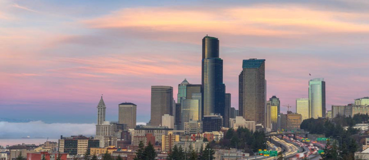 Seattle at Sunrise Wallpaper Mural
