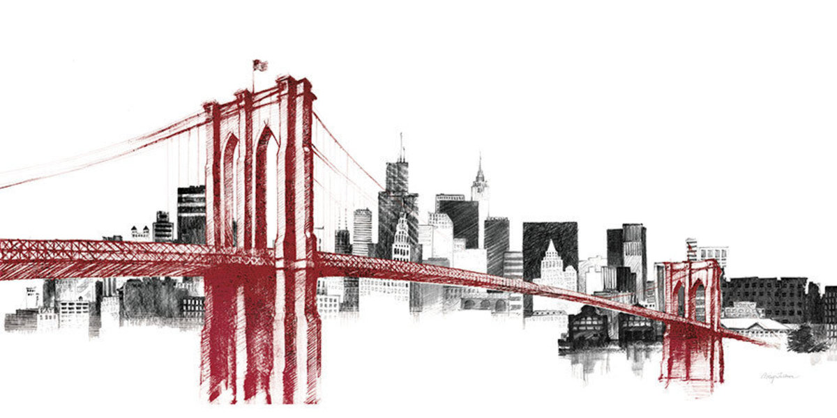 Skyline Crossing In Red Mural Wallpaper Additional Thumbnail