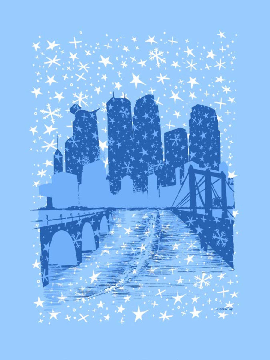 Snowy Minneapolis Wallpaper Mural Sample