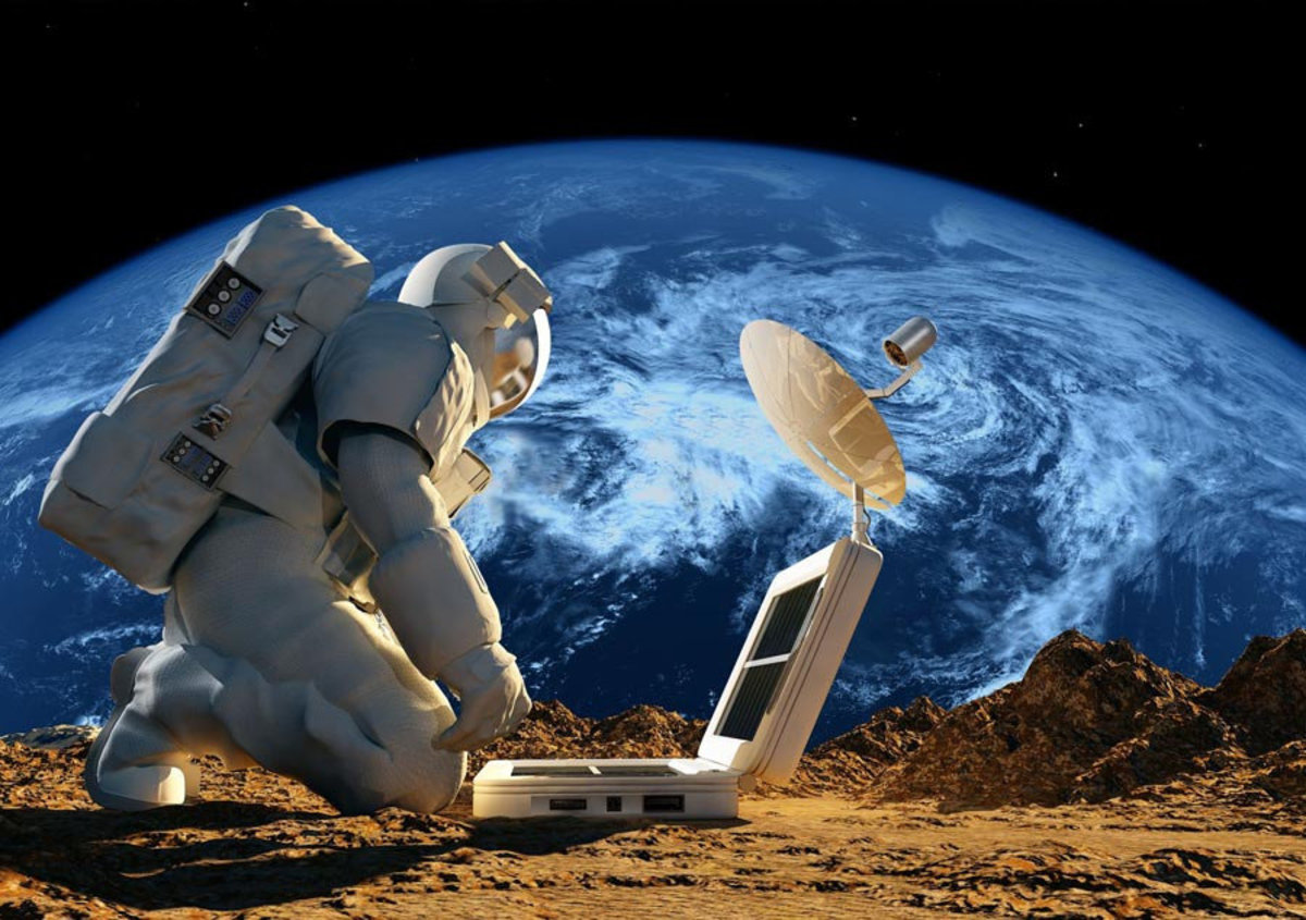 a lone astronaut crouching down near a solar battery with Planet Earth in the distance Sample
