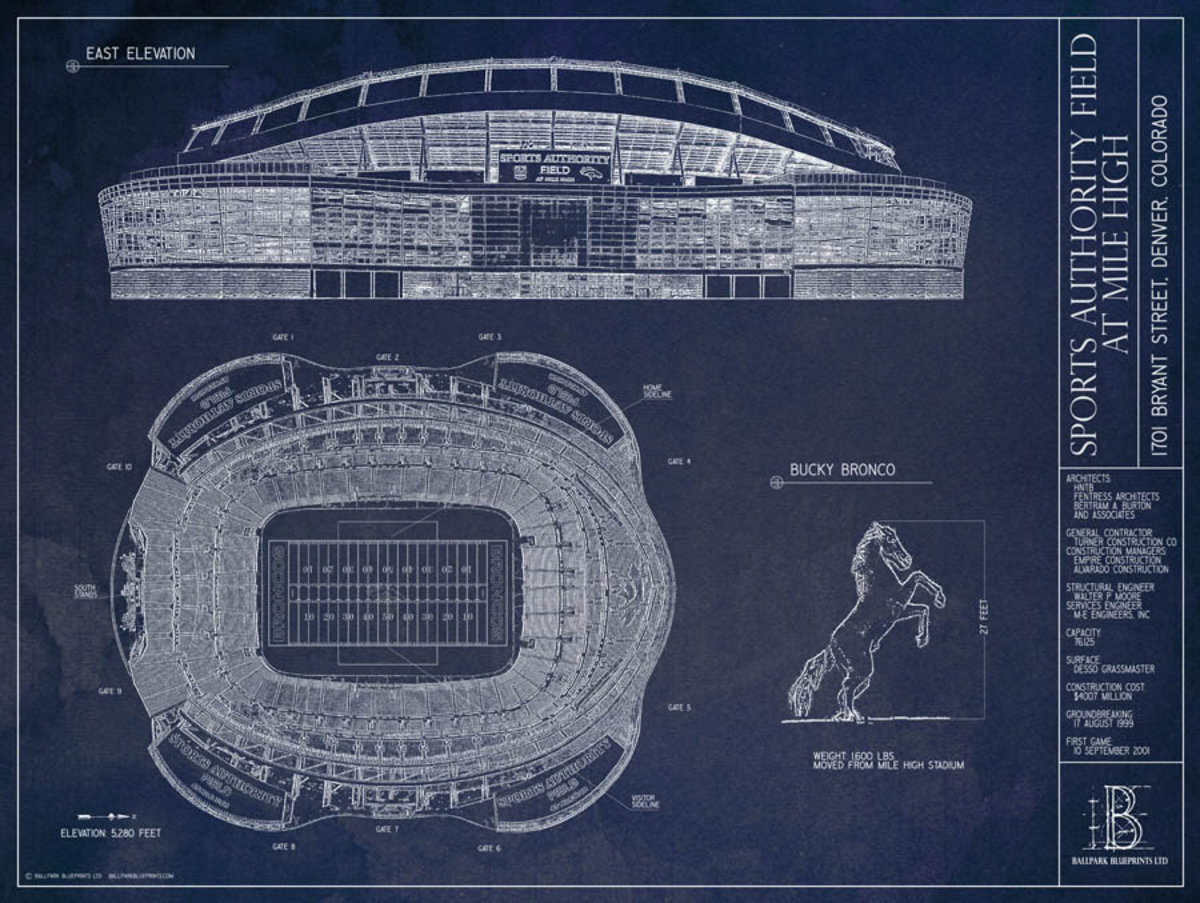 Sports Authority Field at Mile High Blueprint Wall Mural