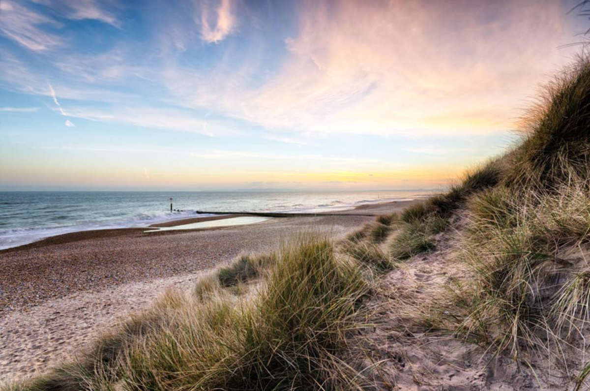 Sunset And Sand Dunes of Hengistbury Head Beach Wall Mural Additional Thumbnail