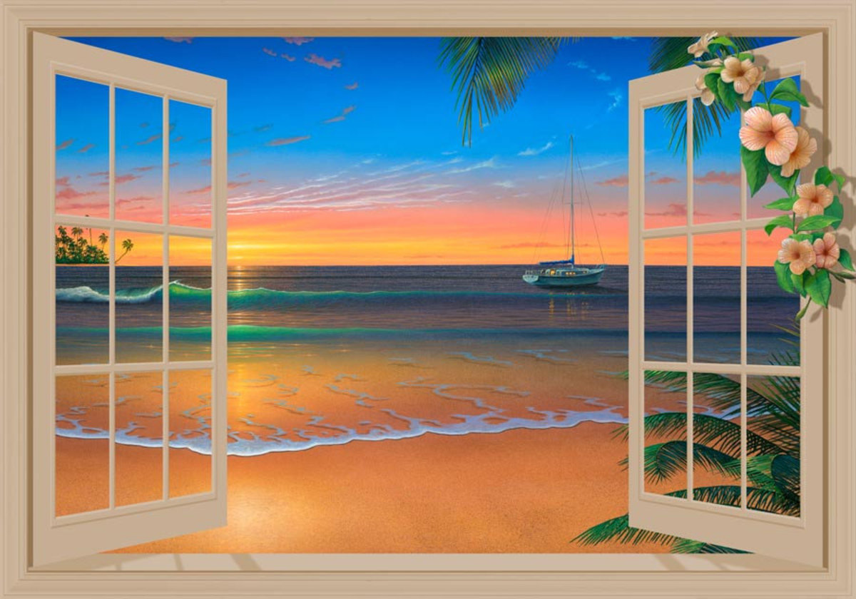 Sunset Through Window with Flowers Wall Mural Sample