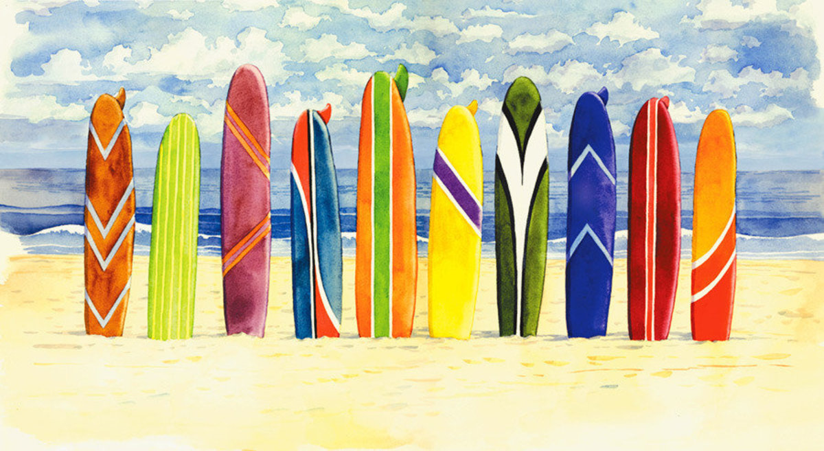 Surfboards Wallpaper Mural Sample