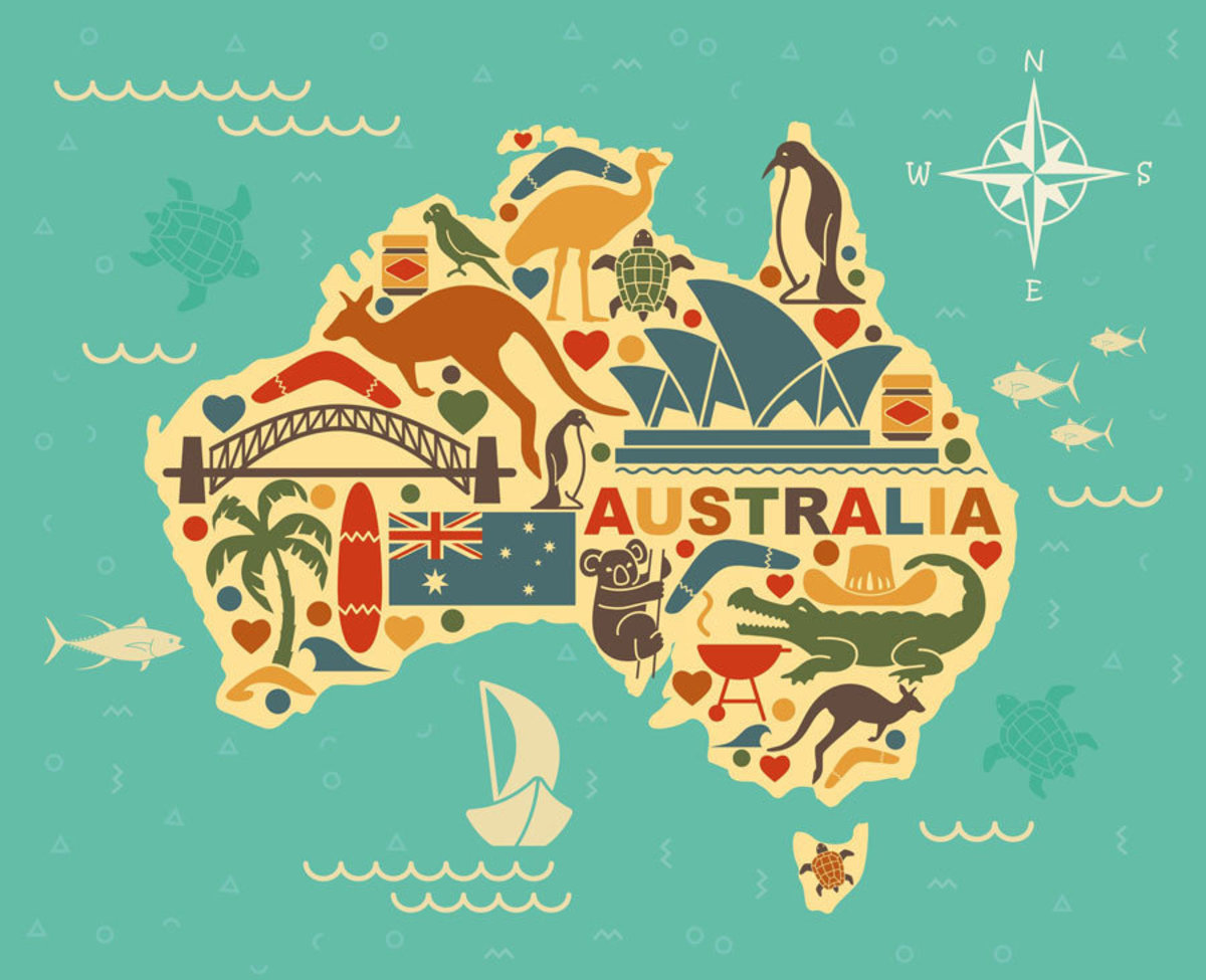 Outline of Australia with iconic elements captured in the symbols of this image, including jars of Vegemite