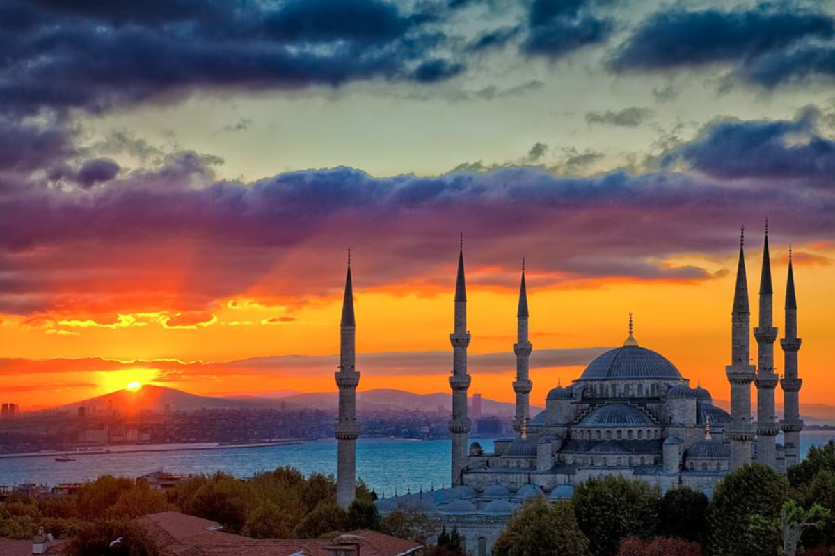 Image for The Blue Mosque at sunrise, Istanbul, Turkey