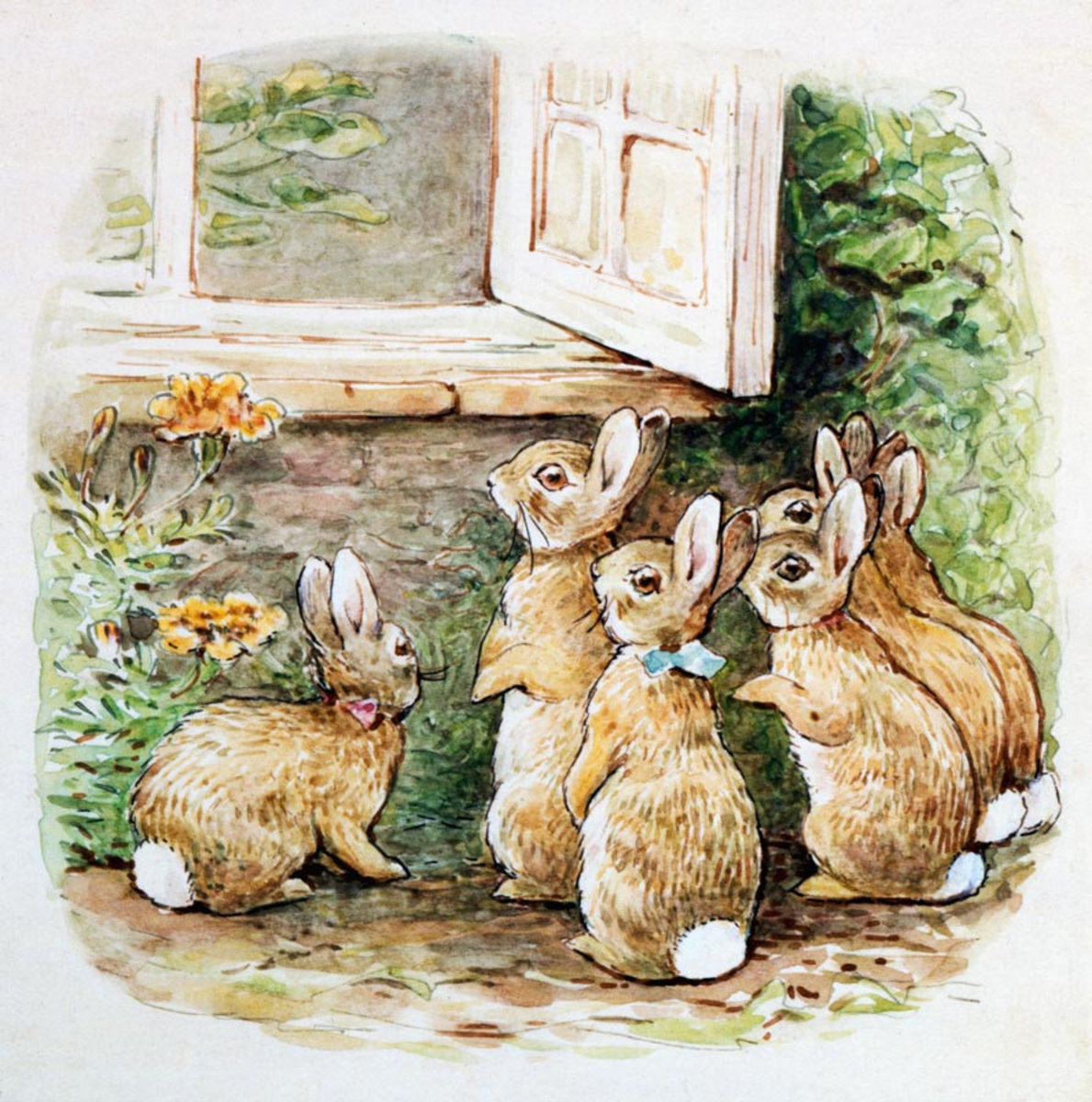 The Flopsy Bunnies At The Window Wallpaper Mural Sample