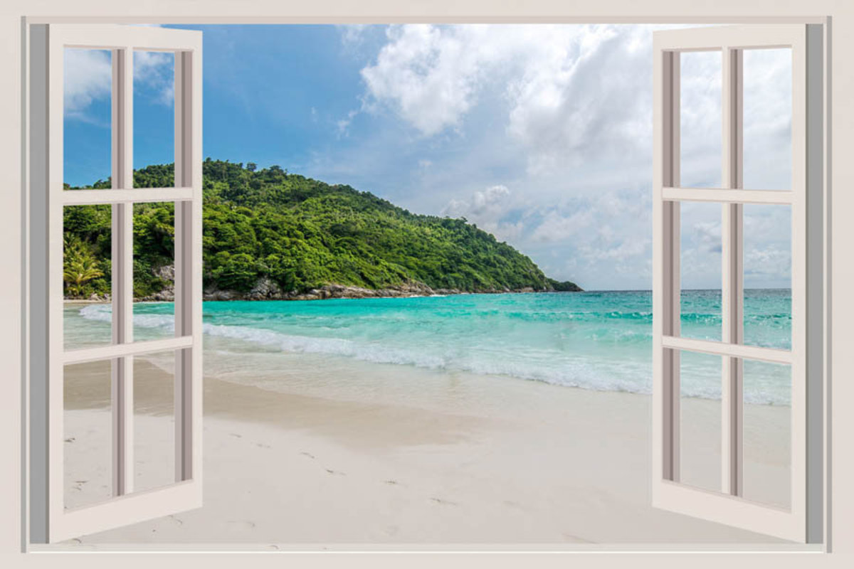 The Open Window With Sea Views Mural Wallpaper Sample