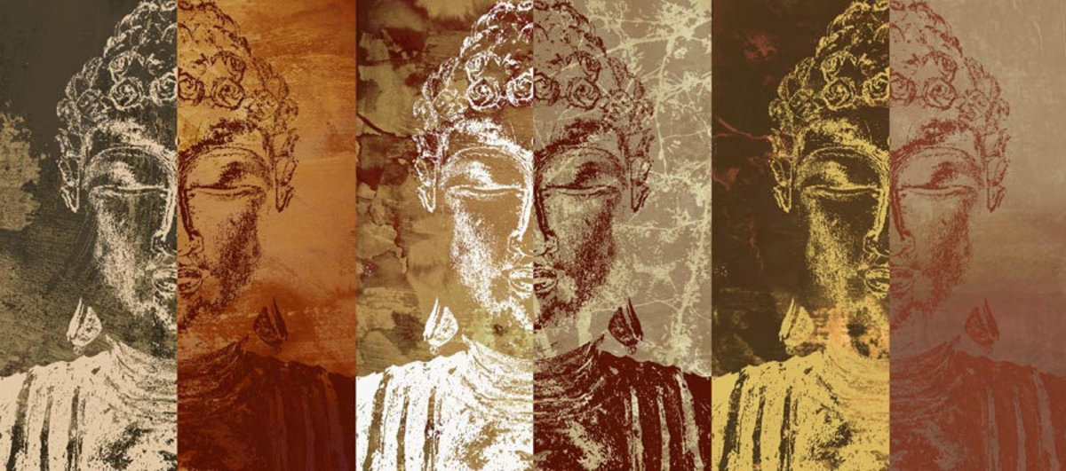 Three Buddhas Mural Wallpaper Sample