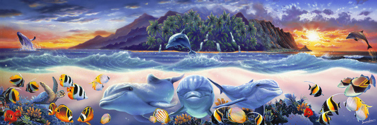 Tropic Dolphins Mural Wallpaper Sample