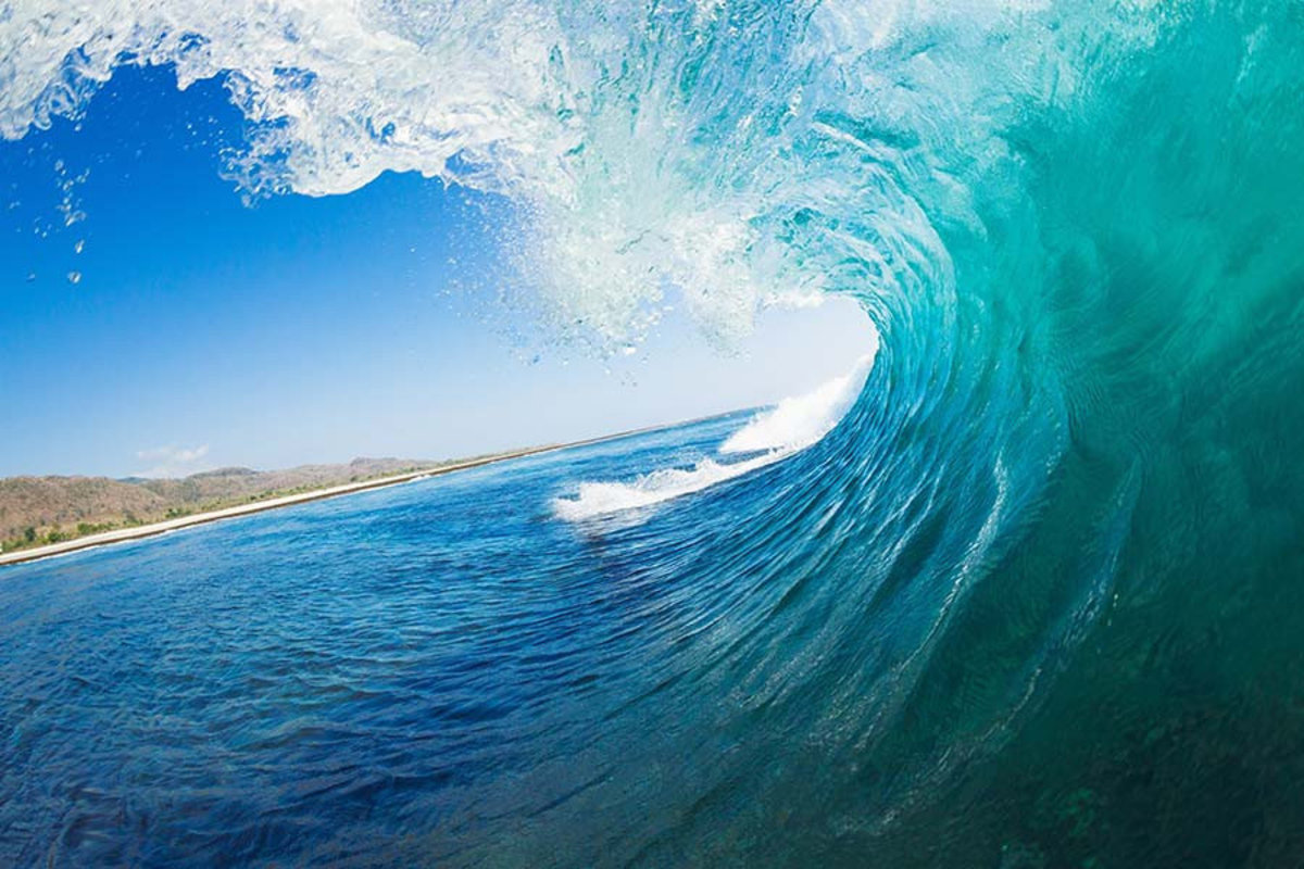 Tropical Blue Ocean Wave Mural Wallpaper Sample
