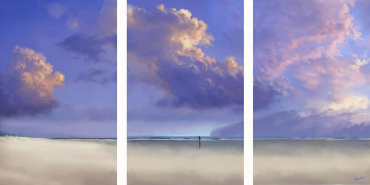 Tryptych Sky Mural Wallpaper Sample