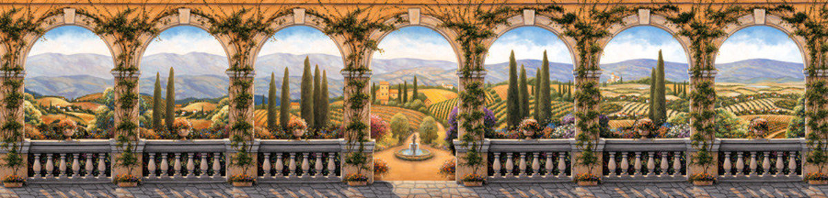 Tuscan Villa - Panoramic Mural Wallpaper Sample