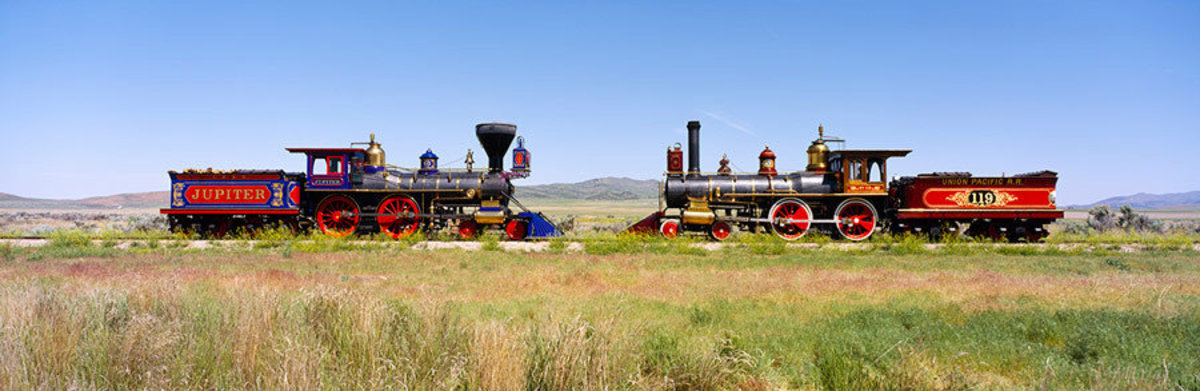 Two Steam Engines On A Train Track Wall Mural Sample
