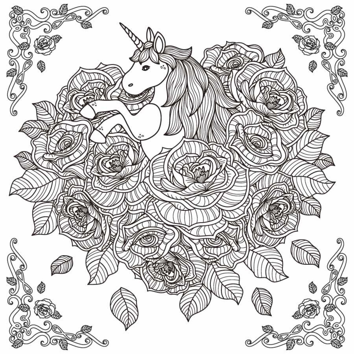 Unicorn And Roses Illustration Wall Mural Additional Thumbnail