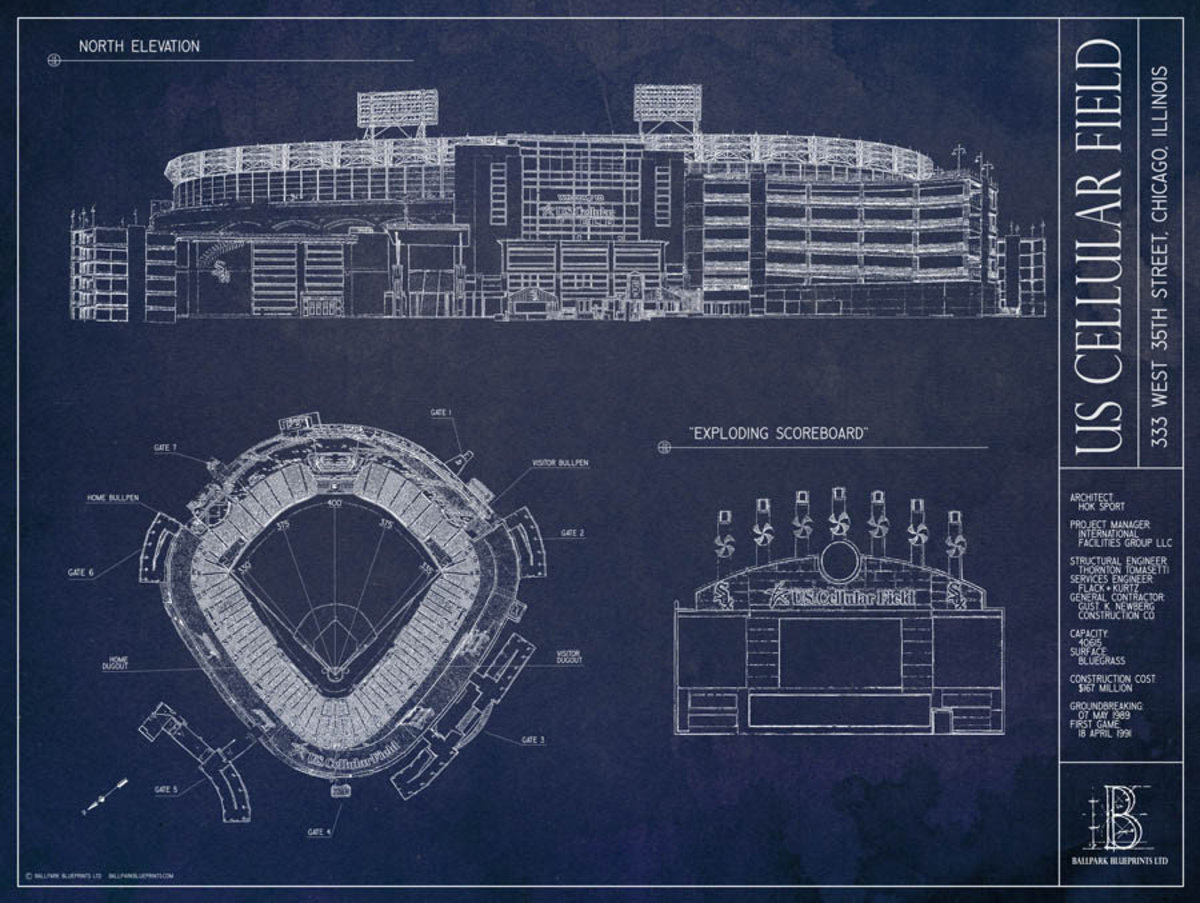 US Cellular Field Blueprint Mural Wallpaper Additional Thumbnail