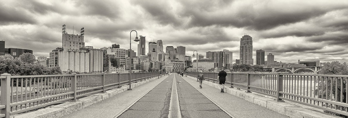 View Of Downtown Minneapolis From Stone Arch Bridge Wallpaper Mural Sample