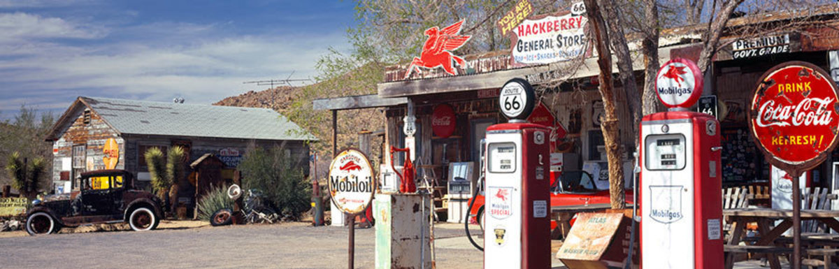 Vintage Gas Station On Route 66 Wall Mural Sample