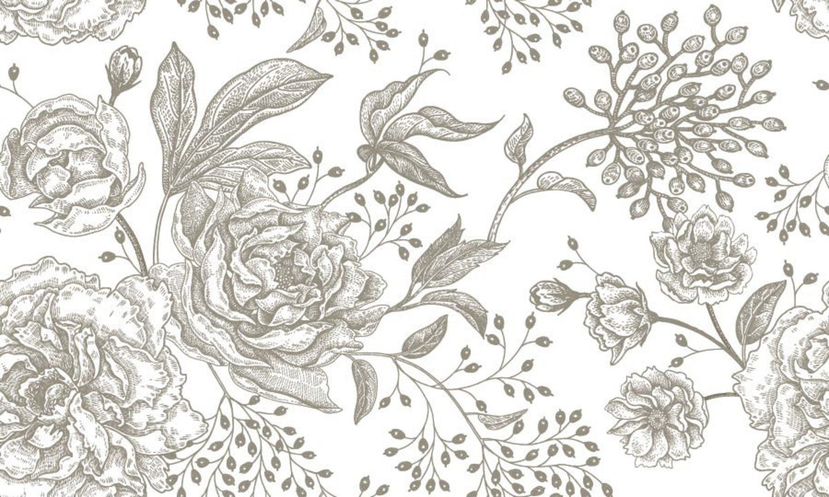 seamless floral pattern of peonies and roses Sample