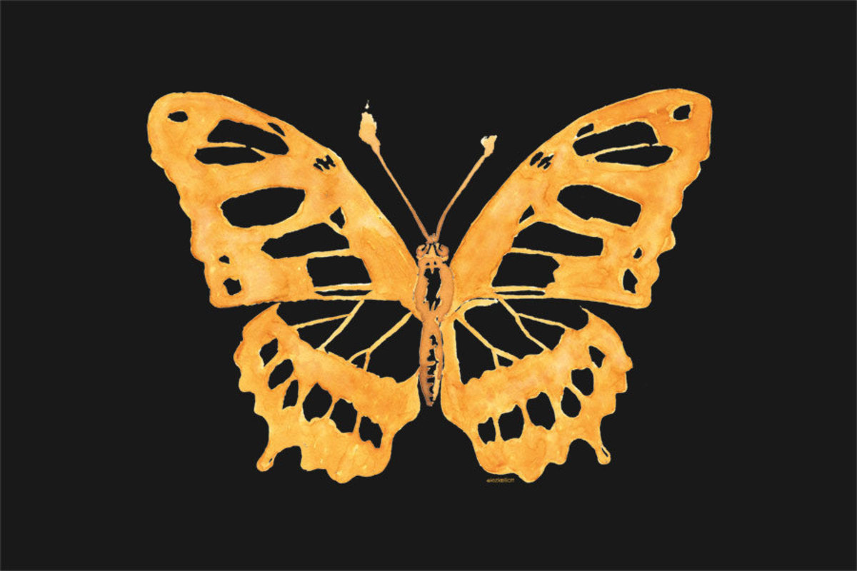 Watercolor Butterfly - Black Mural Wallpaper Additional Thumbnail