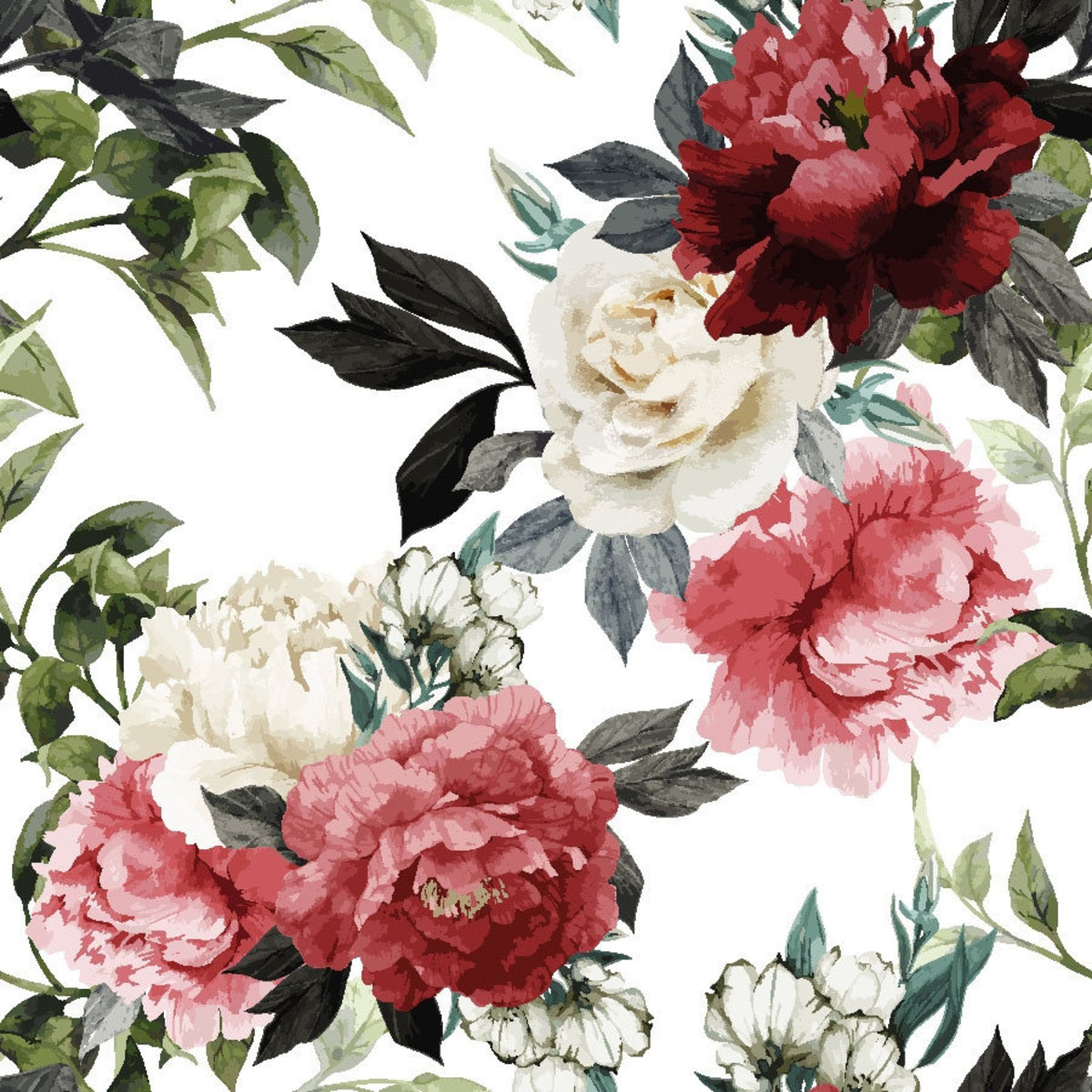 Watercolor Floral Pattern With Roses Wallpaper Mural Floral Wall