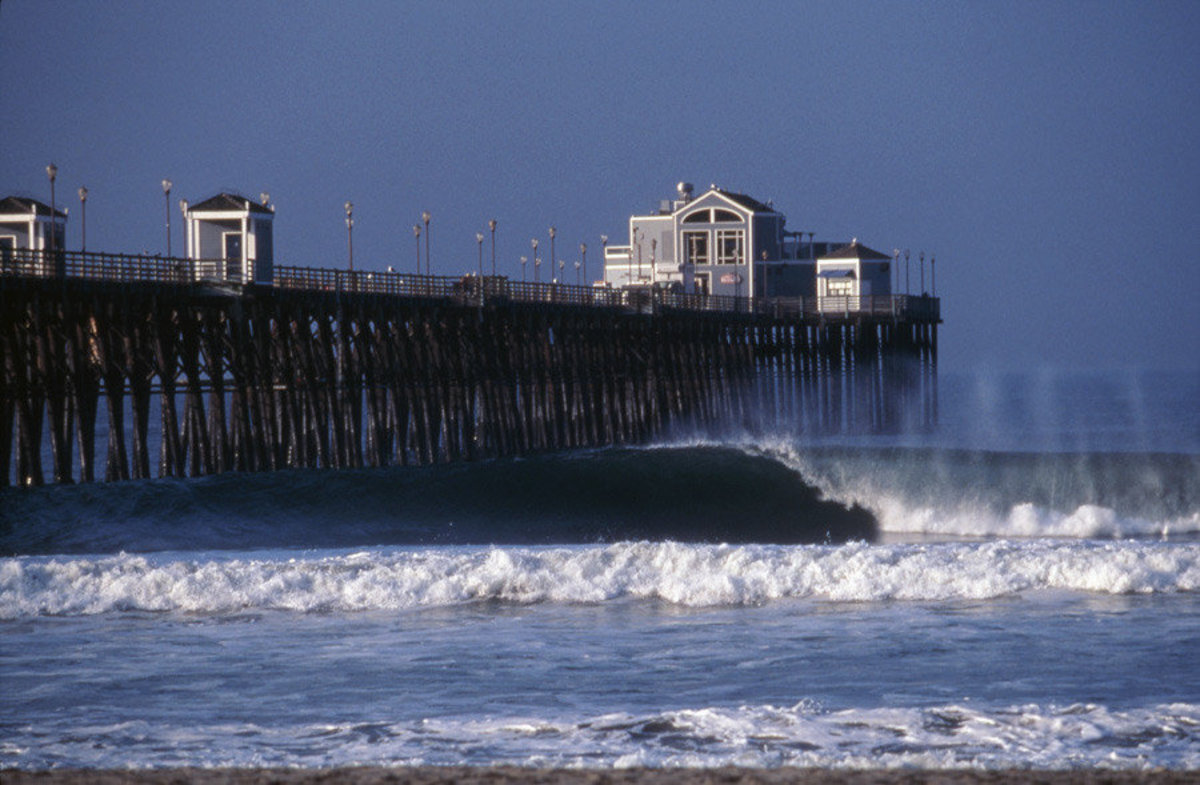 Wave And Pier, California Mural Wallpaper